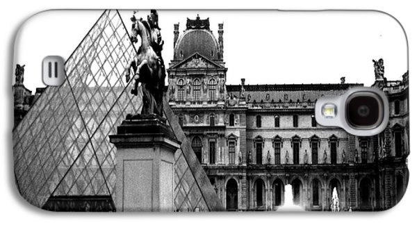 Print On Canvas Galaxy S4 Cases - Paris Black and White Photography - Louvre Museum Pyramid Black White Architecture Landmark Galaxy S4 Case by Kathy Fornal