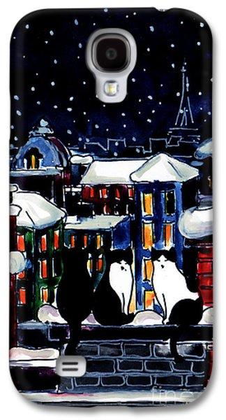 Chimneys Galaxy S4 Cases - Paris Cats Galaxy S4 Case by Mona Edulesco