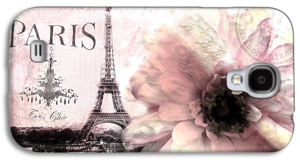 Paris Dreamy Eiffel Tower Montage - Paris Romantic Pink Sepia Eiffel Tower And Flower French Script Galaxy S4 Case by Kathy Fornal