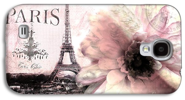 Fantasy Photographs Galaxy S4 Cases - Paris Dreamy Eiffel Tower Montage - Paris Romantic Pink Sepia Eiffel Tower and Flower French Script Galaxy S4 Case by Kathy Fornal
