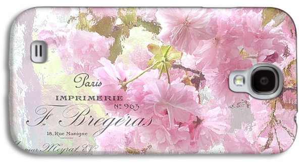Cherry Blossoms Galaxy S4 Cases - Paris Dreamy Pink Blossoms Tree - Paris Cherry Blossoms With French Script Letter Writing Galaxy S4 Case by Kathy Fornal