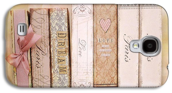 Print On Canvas Galaxy S4 Cases - Paris Dreamy Shabby Chic Romantic Pink Cottage Books Love Dreams Paris Collection Pastel Books Galaxy S4 Case by Kathy Fornal
