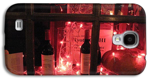 Red Wine Prints Galaxy S4 Cases - Paris Holiday Christmas Wine Window Display - Paris Red Holiday Wine Bottles Window Display  Galaxy S4 Case by Kathy Fornal