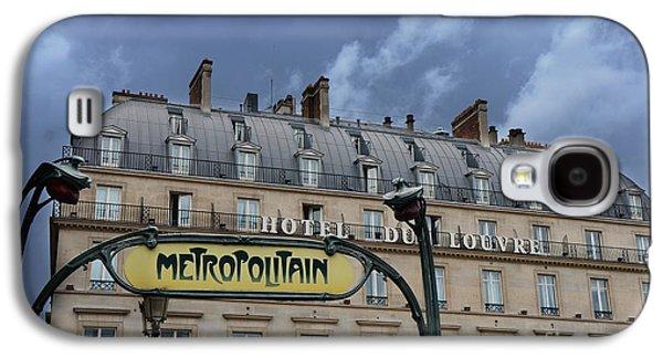 Paris Metropolitain Sign At The Paris Hotel Du Louvre Metropolitain Sign Art Noueveau Art Deco Galaxy S4 Case by Kathy Fornal