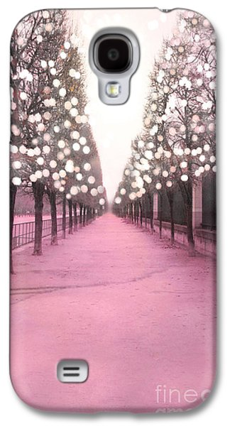 Garden Scene Galaxy S4 Cases - Paris Tuileries Trees Pink Twinkling Fairy Lights Trees- Jardin des Tuileries Park and Garden Galaxy S4 Case by Kathy Fornal
