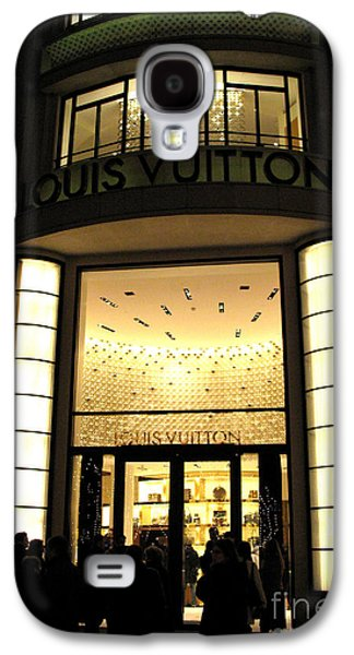 Night Scene Galaxy S4 Cases - Paris Louis Vuitton Boutique Store Front - Paris Night Photo Louis Vuitton - Champs Elysees  Galaxy S4 Case by Kathy Fornal