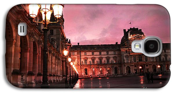 Paris Louvre Museum Night Architecture Street Lamps - Paris Louvre Museum Lanterns Night Lights Galaxy S4 Case by Kathy Fornal