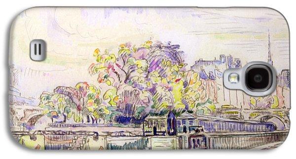 Purple Drawings Galaxy S4 Cases - Paris Galaxy S4 Case by Paul Signac
