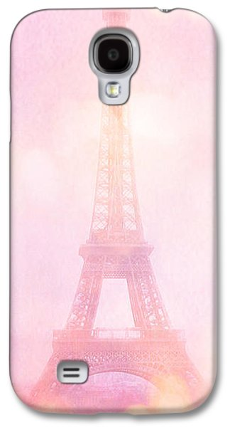 Paris Dreamy Pink Eiffel Tower With Pink Hot Air Balloon - Paris And Balloons Galaxy S4 Case by Kathy Fornal