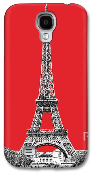 Office Decor Digital Galaxy S4 Cases - Paris Skyline Eiffel Tower - Red Galaxy S4 Case by DB Artist