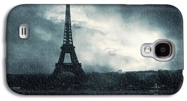 Snow Scenes Galaxy S4 Cases - Paris Surreal Eiffel Tower Stormy Winter Snow Landscape - Eiffel Tower Winter Snow Ethereal Skies Galaxy S4 Case by Kathy Fornal