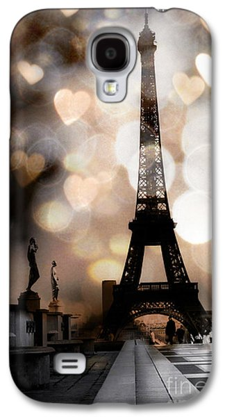 Fantasy Photographs Galaxy S4 Cases - Paris Surreal Fantasy Sepia Black Eiffel Tower Bokeh Hearts and Circles - Paris Sepia Fantasy Nights Galaxy S4 Case by Kathy Fornal