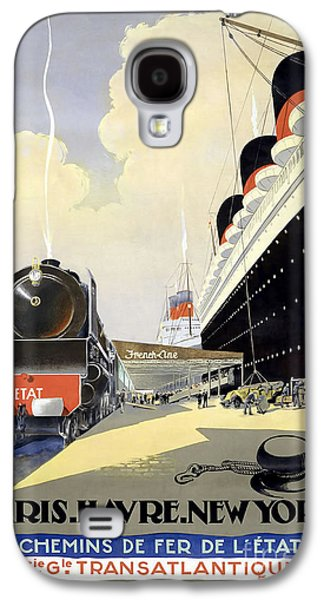 Cities Drawings Galaxy S4 Cases - Paris to New York Vintage Travel Poster Galaxy S4 Case by Jon Neidert
