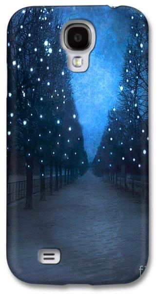 Garden Scene Galaxy S4 Cases - Paris Tuileries Trees - Blue Surreal Fantasy Sparkling Trees - Paris Tuileries Park Galaxy S4 Case by Kathy Fornal