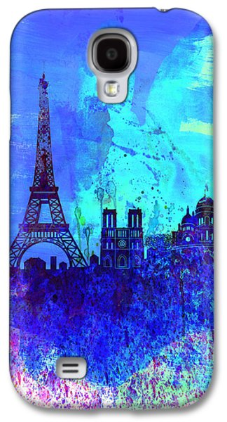 Architectural Digital Art Galaxy S4 Cases - Paris Watercolor Skyline Galaxy S4 Case by Naxart Studio