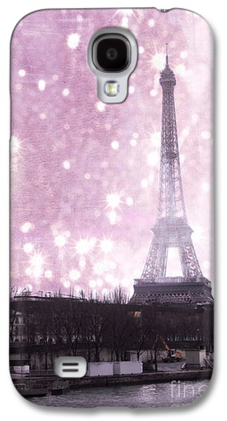 Snow Scenes Galaxy S4 Cases - Paris Winter Eiffel Tower - Dreamy Surreal Paris In Pink Eiffel Tower Snow Winter Landscape Galaxy S4 Case by Kathy Fornal