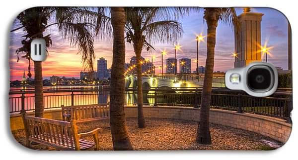 River Scenes Photographs Galaxy S4 Cases - Park on the West Palm Beach Wateway Galaxy S4 Case by Debra and Dave Vanderlaan
