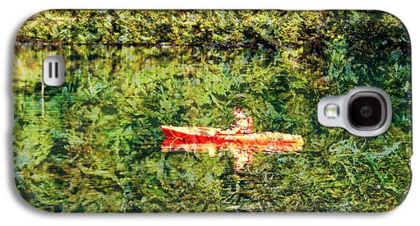 Canoe Mixed Media Galaxy S4 Cases - Part of the Relfection Galaxy S4 Case by Marie Jamieson