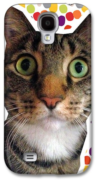 Party Animal- Cat With Confetti Galaxy S4 Case by Linda Woods