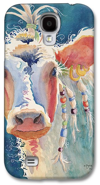 Gold Earrings Galaxy S4 Cases - Party Gal - Cow Galaxy S4 Case by Deb  Harclerode