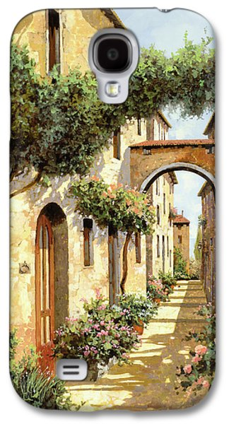 Street Paintings Galaxy S4 Cases - Passando Sotto Larco Galaxy S4 Case by Guido Borelli