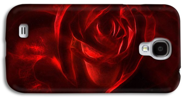 Abstract Digital Mixed Media Galaxy S4 Cases - Passion Rose Bathed In Red - Abstract Realism Galaxy S4 Case by Georgiana Romanovna