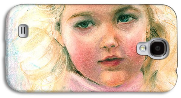 Girl Galaxy S4 Cases - Pastel portrait of an angelic girl Galaxy S4 Case by Greta Corens