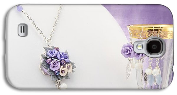 Flower Jewelry Galaxy S4 Cases - Pastel Rose and Lily Bouquet on Chalcedony Necklace with Two Pairs of Matching Earrings  Galaxy S4 Case by WDM Gallery