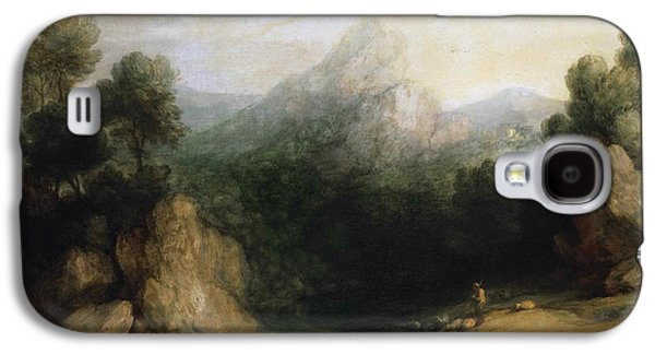 Landscape With Mountains Galaxy S4 Cases - Pastoral Landscape. Rocky Mountain Valley with a Shepherd Sheep and Goats Galaxy S4 Case by Thomas Gainsborough