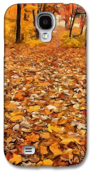 Earth Tones Photographs Galaxy S4 Cases - Path of Fallen Leaves Galaxy S4 Case by Edward Fielding