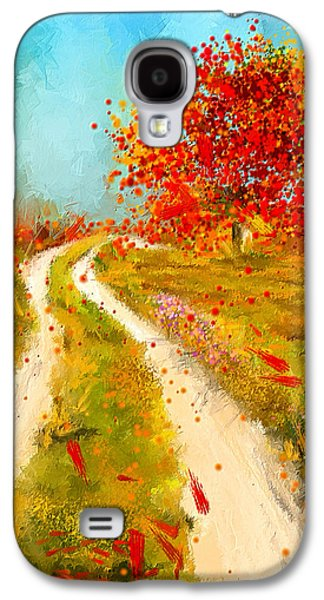 Autumn Scene Galaxy S4 Cases - Path To Change- Autumn Impressionist Painting Galaxy S4 Case by Lourry Legarde