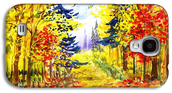 Maple Season Paintings Galaxy S4 Cases - Path To The Fall Galaxy S4 Case by Irina Sztukowski