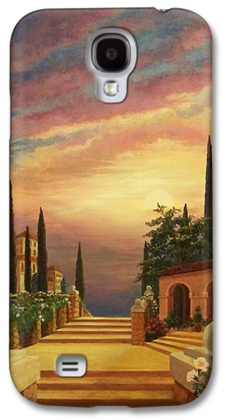 Tuscan Sunset Galaxy S4 Cases - Patio il Tramonto or Patio at Sunset Galaxy S4 Case by Evie Cook