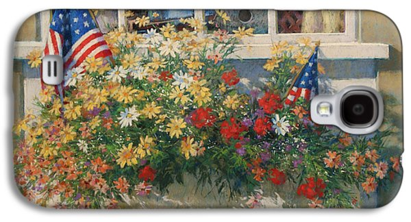 4th July Paintings Galaxy S4 Cases - Patriotic Flower Box Galaxy S4 Case by Sharon Will