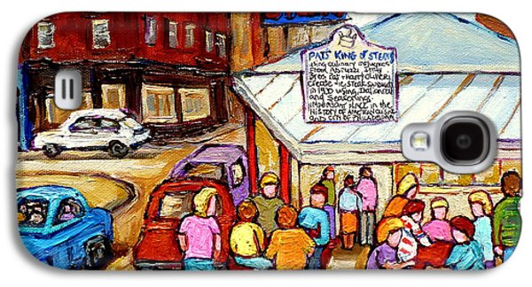 Phillies Paintings Galaxy S4 Cases - Pats King Of Steaks Philadelphia Restaurant South Philly Italian Market Scenes Carole Spandau Galaxy S4 Case by Carole Spandau