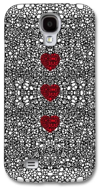 Ultra Modern Galaxy S4 Cases - Pattern 34 - Heart Art - Black And White Exquisite Patterns By Sharon Cummings Galaxy S4 Case by Sharon Cummings