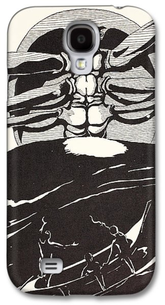 Fantasy Drawings Galaxy S4 Cases - Pau Amma the Crab rising out of the sea as tall as the smoke of three volcanoes Galaxy S4 Case by Joseph Rudyard Kipling