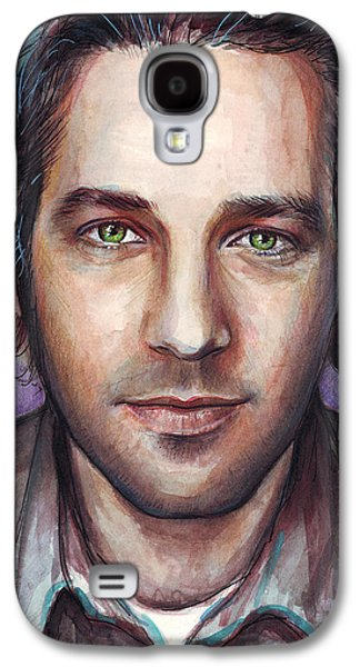Painted Mixed Media Galaxy S4 Cases - Paul Rudd Portrait Galaxy S4 Case by Olga Shvartsur