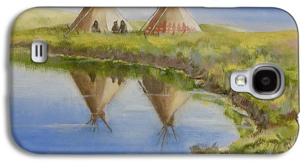 Tribe Paintings Galaxy S4 Cases - Pawnee Camp Galaxy S4 Case by Jerry McElroy