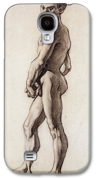 Nudes Drawings Galaxy S4 Cases - Male Nude Galaxy S4 Case by Paul Cezanne