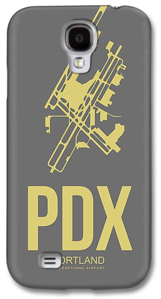 Town Mixed Media Galaxy S4 Cases - PDX Portland Airport Poster 2 Galaxy S4 Case by Naxart Studio