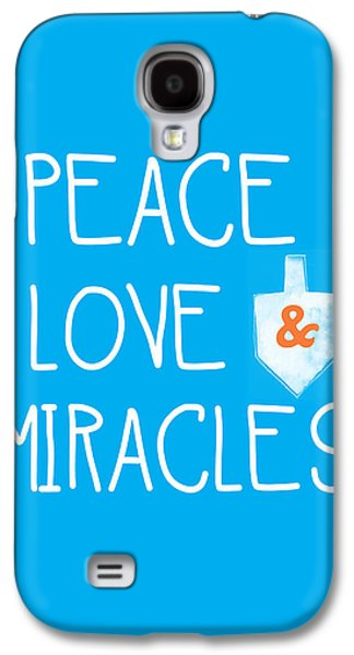 Miracle Galaxy S4 Cases - Peace Love and Miracles with Dreidel  Galaxy S4 Case by Linda Woods