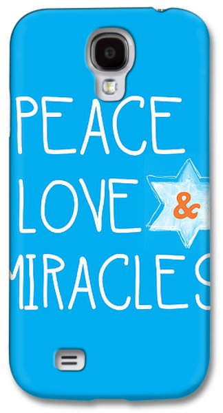 Miracle Galaxy S4 Cases - Peace Love and Miracles with Star of David Galaxy S4 Case by Linda Woods
