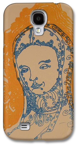 Linocut Drawings Galaxy S4 Cases - Peace of Madonna Galaxy S4 Case by Stephen Wiggins