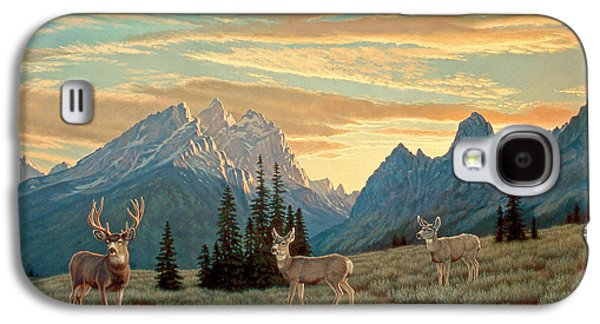 National Park Paintings Galaxy S4 Cases - Peaceful Evening - Tetons Galaxy S4 Case by Paul Krapf
