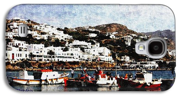 Abstract Digital Paintings Galaxy S4 Cases - Peaceful Habour Scene-Greece H a Galaxy S4 Case by Gert J Rheeders