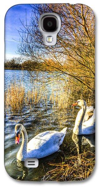 Swan Pair Galaxy S4 Cases - Peaceful Swans Galaxy S4 Case by David Pyatt