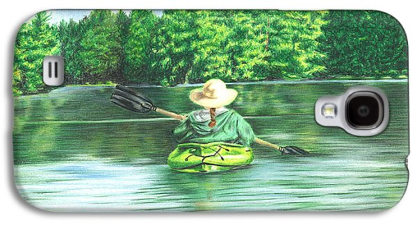 Canoe Drawings Galaxy S4 Cases - Peaceful Galaxy S4 Case by Troy Levesque