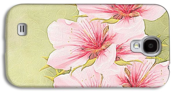 Abstract Digital Paintings Galaxy S4 Cases - Peach blossom Galaxy S4 Case by Veronica Minozzi