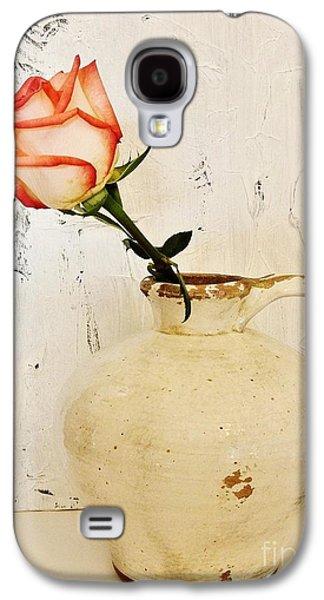 Peach Trim Rose In Pottery Galaxy S4 Case by Marsha Heiken